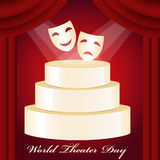 Theatrical mask, gold podium, red curtain and World Theater Day Stock Photos
