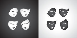 Theatrical mask set. Comedy tragediya.Yin and Yang. Royalty Free Stock Photo