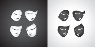 Theatrical mask set. Comedy tragediya.Yin and Yang. Royalty Free Stock Photo