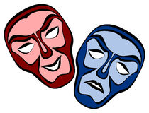 Theatrical masks. Classical theater face masks showing the contrasting emotions of comedy and tragedy. Illustration on white with clipping path vector illustration