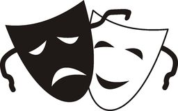 Theatrical masks. Isolated  illustration character Theater - Tragedy and Comedy Stock Photo