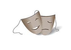 Theatrical masks. Two gray theatrical masks is a laughter and tears Royalty Free Stock Photography