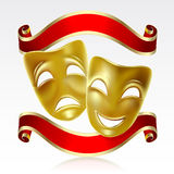 Theatrical masks. Theatrical mask with a red ribbon. Mesh Stock Photos