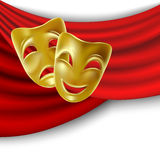 Theatrical masks. Theatrical mask with a red ribbon. Mesh Royalty Free Stock Image