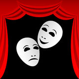 Theatrical masks. Two white theatrical masks on a black background. Masks represent tragedy and a comedy. Round a composition a red curtain Stock Image