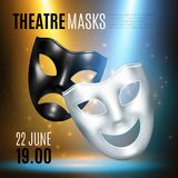 Theatrical Masks Announcement Composition. Comedy tragedy masks theatre composition of realistic images editable text captions and blurry background with lights Stock Illustration