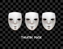 Theatrical masks on a checkered background. Joy, sadness, indifference. Vector masks Stock Photos