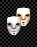 Theatrical masks on a checkered background. Joy and sadness. Vector masks Stock Image