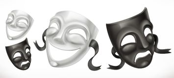 Theatrical masks. Comedy and tragedy 3d vector icon Stock Images
