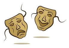Theatrical masks. Happy and sad Stock Images