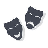 Theatrical Masks. Illustration of Comedy and Tragedy Theatrical Masks Stock Photo