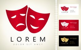Theatrical masks logo vector. With business card template Stock Image