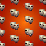Theatrical masks. Ornament with theater masks, vector illustration Stock Photos
