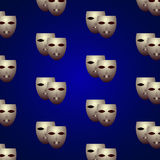 Theatrical masks. Ornament with theater masks, vector illustration Stock Image
