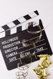 Theatrical masks, party poppers and films for cinema Stock Photography