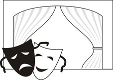 Theatrical masks, scene, curtain. Theatrical masks - Comedy and Tragedy (drama), scene and curtain - symbols of theater (allegory) - cartoon vector illustration Royalty Free Stock Image