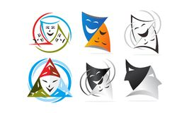 Theatrical Masks Template Set. Vector Stock Photography