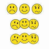 Theatrical masks, three smileys, emoticon sticker royalty free illustration