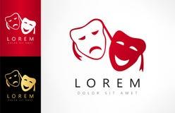 Theatrical masks logo vector. Theatrical masks vector. Logo design vector illustration Stock Photography