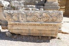 Theatrical maskuje Myra, Reliefowy rzeźba mróz od rzymianina t Fotografia Royalty Free