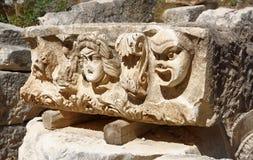 Theatrical maskuje Myra, Reliefowy rzeźba mróz od rzymianina t Obraz Royalty Free