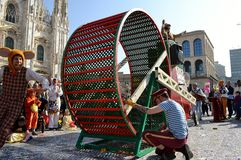 Theatrical performance in Duomo square during Carnival celebration. Stock Photography