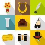 Theatrical performance icons set, flat style. Theatrical performance icons set. Flat illustration of 9 theatrical performance vector icons for web Royalty Free Stock Image