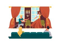 Theatrical performance on stage. Actors play drama in theater. Vector illustration vector illustration