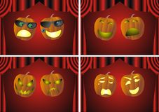 Theatrical pumpkin faces Stock Photos