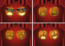 Theatrical pumpkin faces. Vector illustration Stock Photos