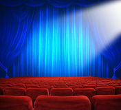 Theatrical release. Classic cinema with red seats Royalty Free Stock Photos