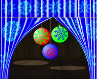 Theatrical scene. Theatrical scene with a dark blue curtain and with celebratory spheres Royalty Free Stock Photo