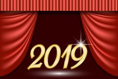 Theatrical scene background for 2019 new year greeting card. Theater curtain, lights garlands and searchlight beam Royalty Free Stock Photo
