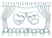 Theatrical scene with grotesque masks Royalty Free Stock Image
