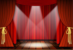 Theatrical scene with red curtains Stock Images