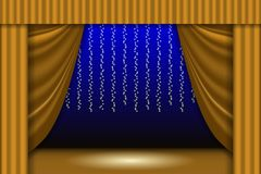 Theatrical scene. Theater curtain, lights garlands and searchlight beam. Scene background. Vector illustration EPS10 Stock Image