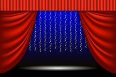 Theatrical scene. Theater curtain, lights garlands and searchlight beam. Scene background. Vector illustration EPS10 Stock Photos