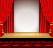 Theatrical scene with white a stand and red curtain Stock Photography