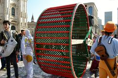 Theatrical show wheel in Duomo square during Carnival celebration. Royalty Free Stock Photos