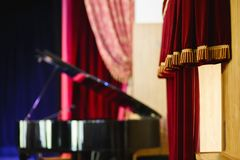 Theatrical stage with curtain and piano Royalty Free Stock Images
