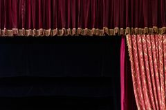 Theatrical stage with curtain and piano Stock Photography