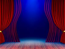 Theatrical stage curtains 3d render. royalty free stock image
