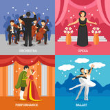 Theatrical Stage 2x2 Design Concept Set. Of dramatic performance ballet opera and symphonic orchestra with conductor flat vector illustration Stock Photos