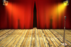 Theatrical stage with red curtain Royalty Free Stock Images