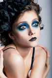Theatrical style - actress woman with blue makeup stock images