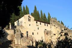 Theatro Romano i Verona arkivbilder