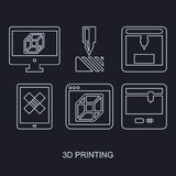 Thee D Printing icon set showing manufacturing. Three D Printing icon set showing manufacturing printers, tablet and computer monitor with modeling program white Royalty Free Stock Image