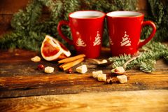 Thee, de koekjes en het licht van de Kerstmis de hete Amerikaanse veenbes bokeh, close-up Royalty-vrije Stock Fotografie