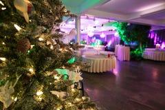 Thee de la Navidad en el pasillo del banquete Imagen de archivo libre de regalías