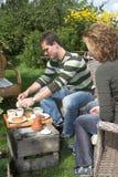 Thee in de tuin Stock Afbeelding